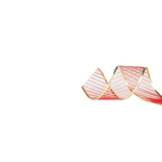 Fita de Natal Voal Listras Vermelho e Ouro 6,3cm (Fita para Presente) - 3 Unidades