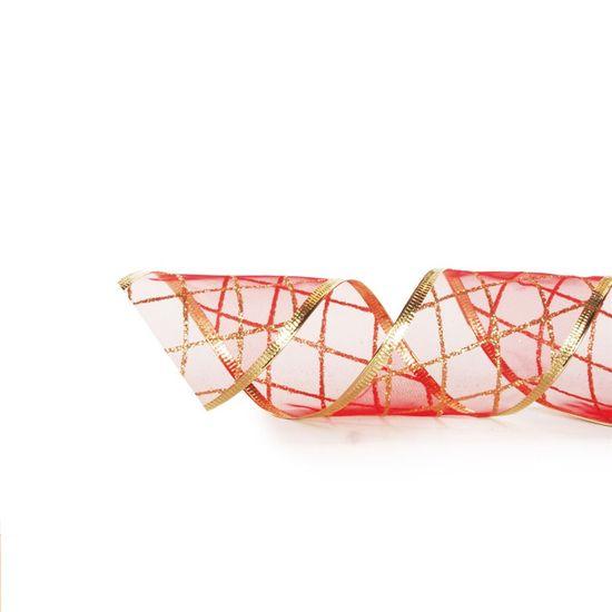 Fita de Natal Voal Losango Vermelho e Ouro 6,3cm (Fita para Presente) - 3 Unidades