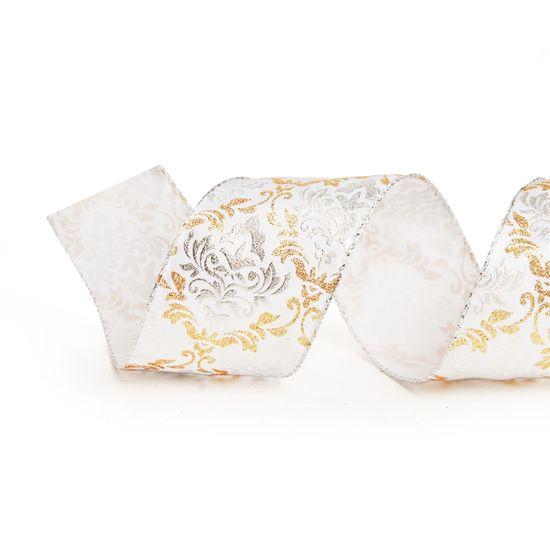 Fita de Natal Arabesco Prata e Ouro 3,8cm (Fita para Presente) - 3 Unidades