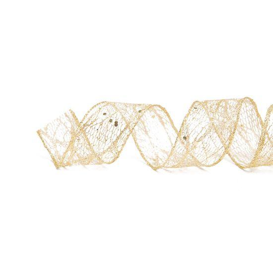 Fita de Natal Tela Glitter Ouro 3,8cm (Fita para Presente) - 3 Unidades