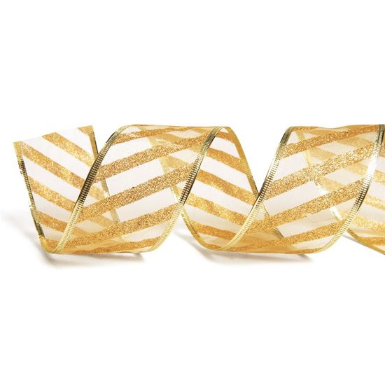 Fita de Natal Voal Listras Glitter Ouro 3,8cm (Fita para Presente) - 3 Unidades