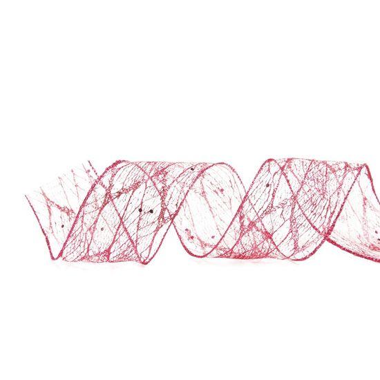 Fita Tela Glitter Rosa 3,8 cm x 9,14 mts (Fitas Natalinas) - 3 Unidades