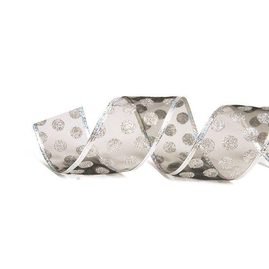 Fita de Natal Voal Bolas Glitter Prata 3,8cm (Fita para Presente) - 1 Rolo