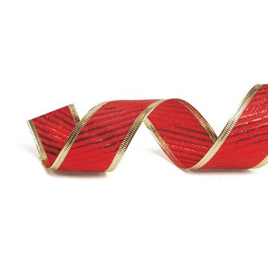 Fita Listras com Borda Vermelha e Ouro 3,8 cm x 9,14 mts (Fitas Natalinas) - 3 Unidades