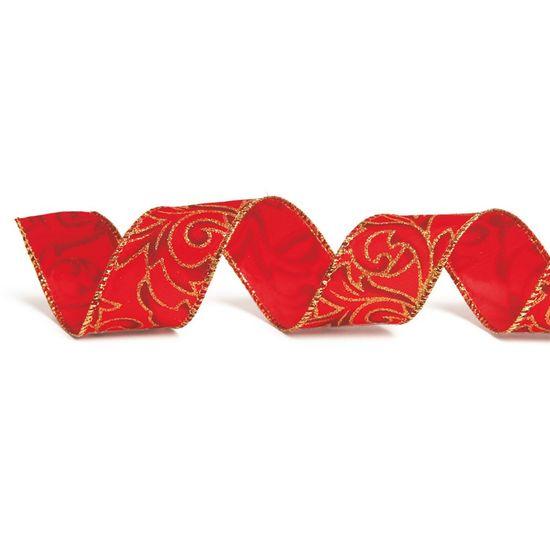 Fita com Flor Vermelho 3,8 cm x 9,14 mts (Fitas Natalinas) - 3 Unidades