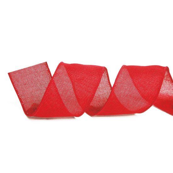 Fita de Natal Juta Lisa Vermelho 6,3cm (Fita para Presente) - 3 Unidades