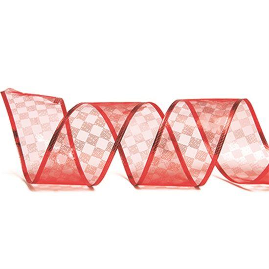 Fita de Natal Voal Quadriculada Vermelho 6,3cm (Fita para Presente) - 3 Unidades