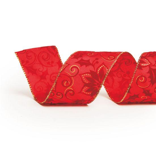Fita de Natal Estampa Floral Vermelho 3,8cm (Fita para Presente) - 3 Unidades