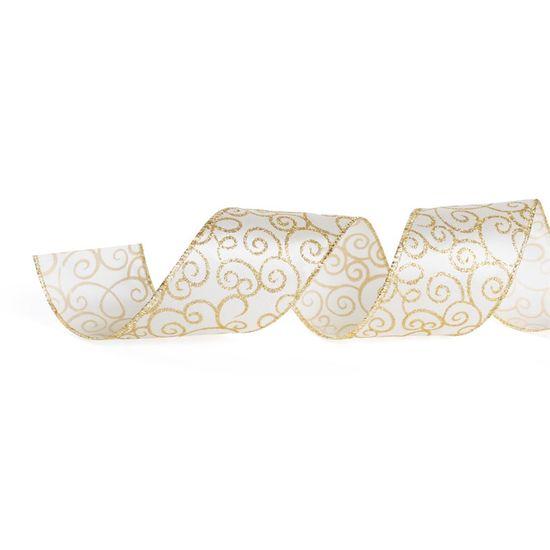 Fita de Natal Arabesco Glitter Branco e Ouro 6,3cm (Fita para Presente) - 1 Rolo