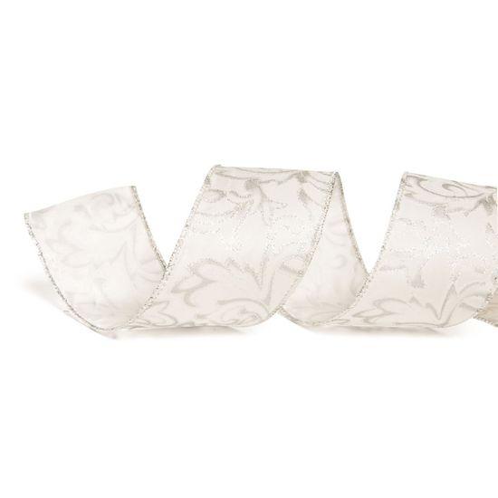 Fita de Natal Azevinho Branco e Prata 3,8cm (Fita para Presente) - 1 Rolo