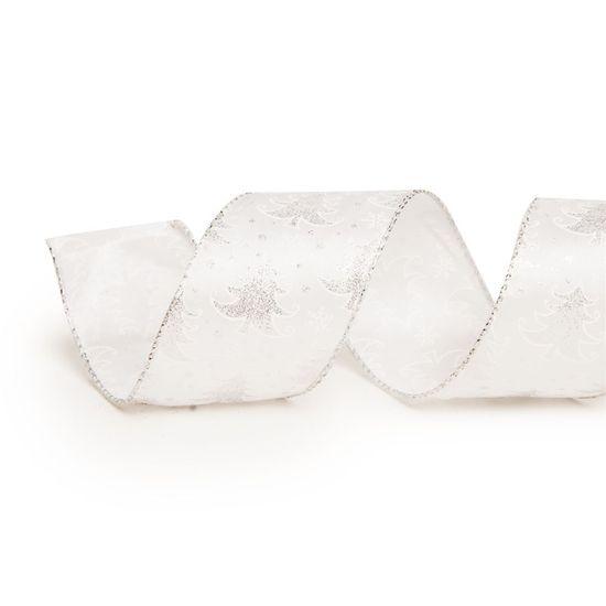 Fita de Natal Pinheiros Prata 6,3cm (Fita para Presente) - 3 Unidades