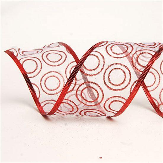 Fita Branco e Vermelho 3,8 cm x 9,14 mts (Fitas Natalinas) - 3 Unidades
