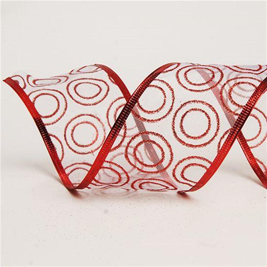 Fita de Natal Branco e Vermelho 6,3cm (Fita para Presente) - 3 Unidades