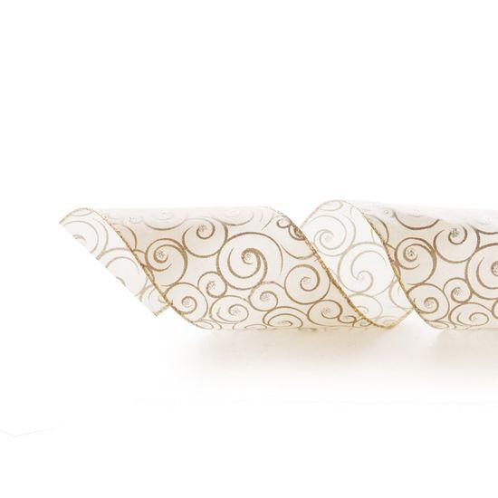 Fita de Natal Espirais Marfim e Prata 6,3cm (Fita para Presente) - 3 Unidades