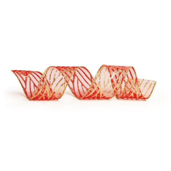 Fita de Natal Voal Linhas Vermelho e Ouro 3,8cm (Fita para Presente) - 3 Unidades