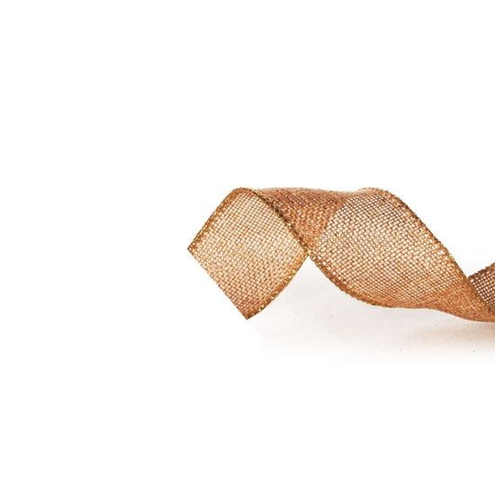Fita de Natal Juta com Fios Ouro 3,8cm (Fita para Presente) - 1 Rolo