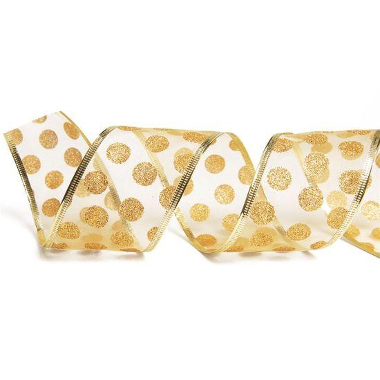 Fita de Natal Voal Bolas Glitter Ouro 6,3cm (Fita para Presente) - 1 Rolo