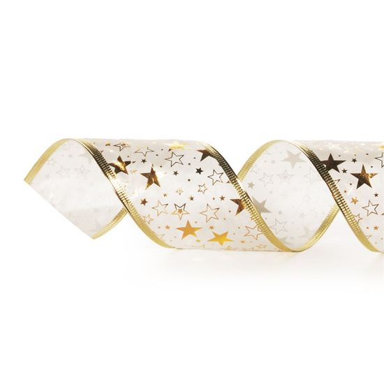 Fita de Natal Estrelas Branco e Ouro 6,3cm (Fita para Presente) - 3 Unidades