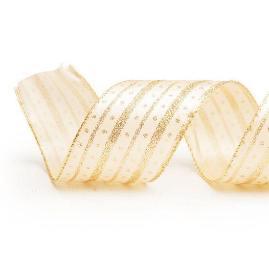 Fita Linha com Pontos Branco e Ouro 3,8 cm x 9,14 mts (Fitas Natalinas) - 3 Unidades