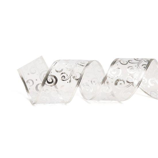 Fita de Natal Caracol Metalizado Prata 3,8cm (Fita para Presente) - 3 Unidades