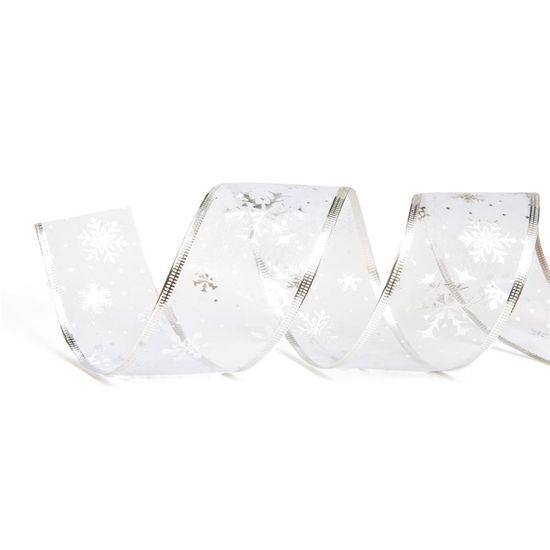 Fita de Natal Floco de Neve Prata 6,3cm (Fita para Presente) - 3 Unidades