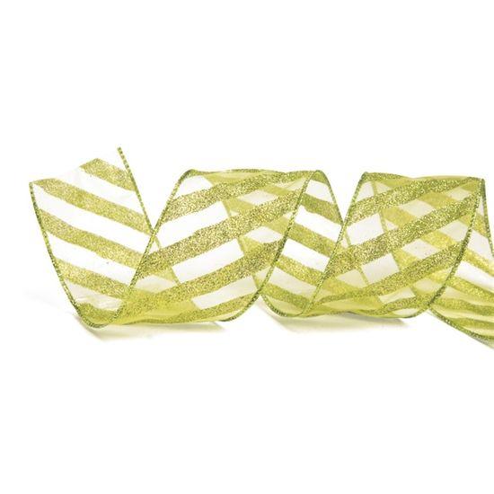 Fita Voal Listras Glitter Verde Claro 3,8 cm x 9,14 mts (Fitas Natalinas) - 3 Unidades