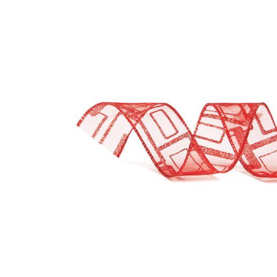 Fita Voal Quadrados Vermelho 3,8 cm x 9,14 mts (Fitas Natalinas) - 3 Unidades