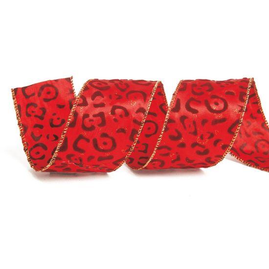 Fita de Natal Estampa Onça Vermelho 3,8cm (Fita para Presente) - 1 Rolo