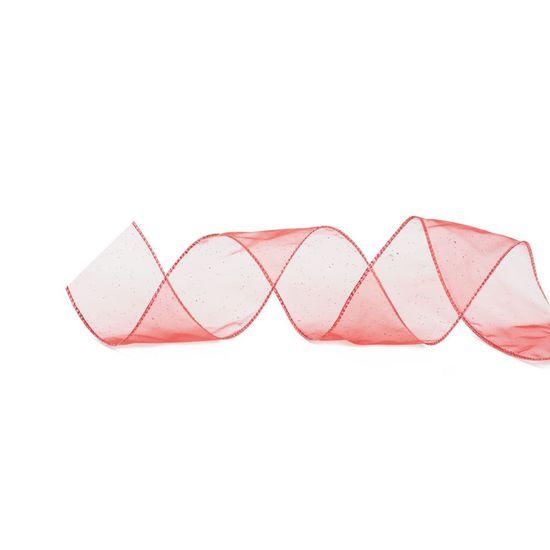 Fita Voal Lisa Vermelho 6,3 cm x 9,14 mts (Fitas Natalinas) - 3 Unidades