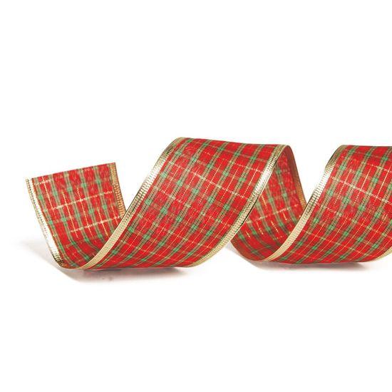Fita de Natal Xadrez com Borda Vermelho e Vermelho 6,3cm (Fita para Presente) - 3 Unidades