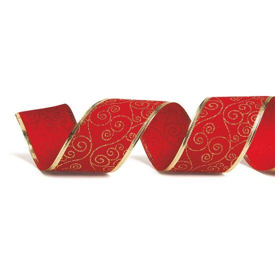 Fita de Natal Veludo Arabesco Vermelho e Ouro 6,3cm (Fita para Presente) - 1 Rolo