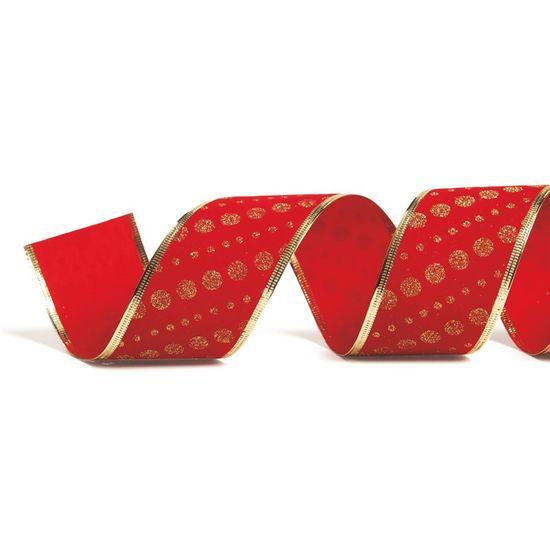 Fita Pontos Vermelho e Ouro 6,3 cm x 9,14 mts