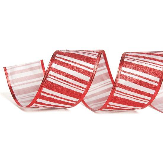 Fita de Natal Listras Vermelho e Branco 6,3cm (Fita para Presente) - 3 Unidades