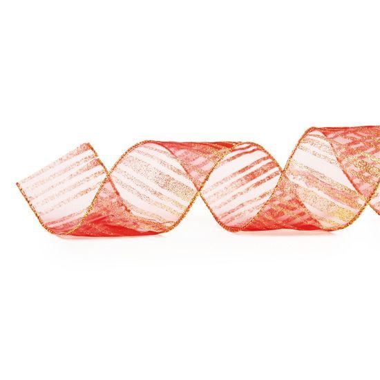 Fita de Natal Voal Listras Vermelho 6,3cm (Fita para Presente) - 3 Unidades
