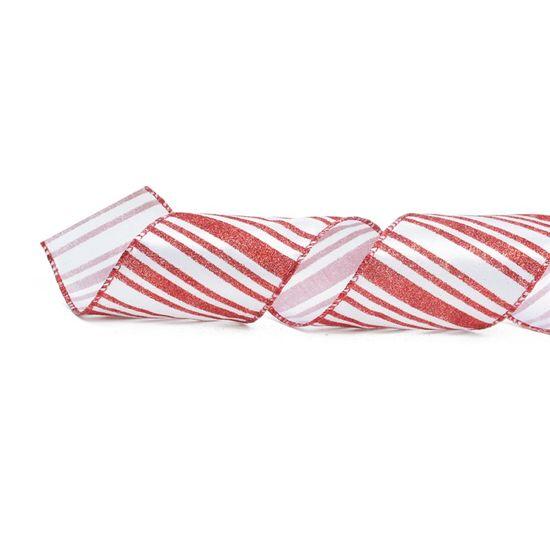 Fita de Natal Listras Branco e Vermelho 6,3cm (Fita para Presente) - 1 Rolo