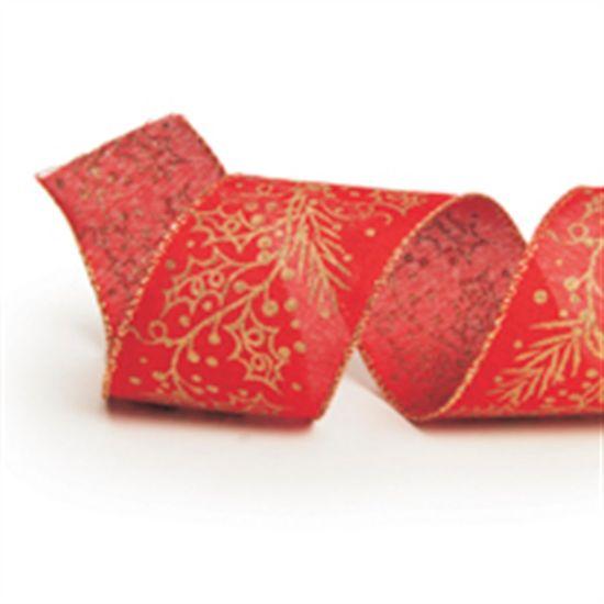 Fita Azevinho Vermelho e Ouro 6,3 cm x 9,14 mts (Fitas Natalinas) - 3 Unidades