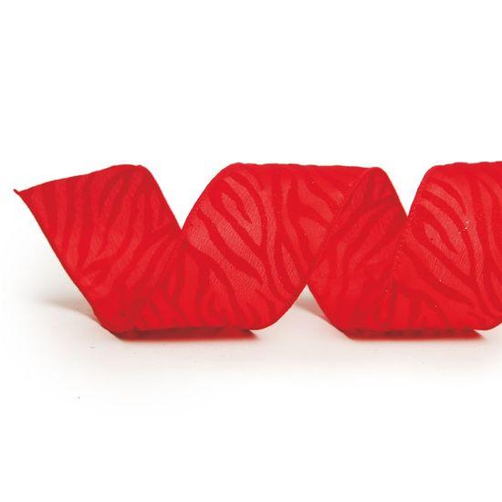 Fita Listras Zebrada Vermelho 6,3 cm x 9,14 mts (Fitas Natalinas) - 3 Unidades