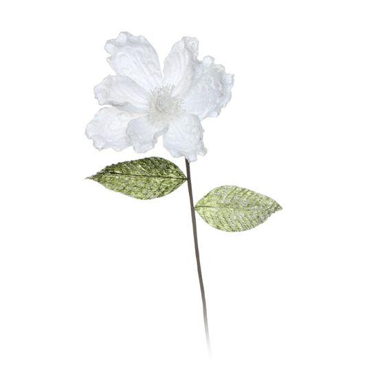 Flor com Neve Branca (Flores Cabo Longo)  - 12 Unidades