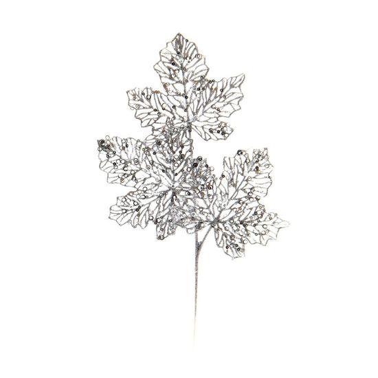 Galho Tres Folhas Glitter Prata (Galhos Médios) - 6 Unidades