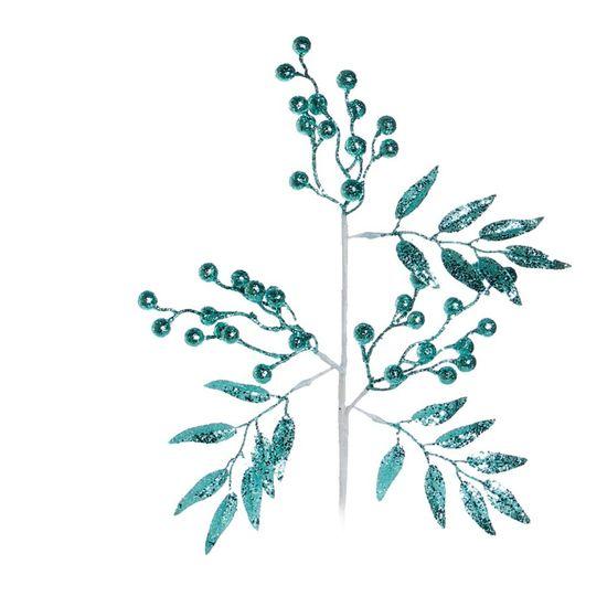 Galho Folha e Fruta com Glitter Azul Turquesa (Galhos Grandes)  - 12 Unidades