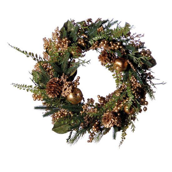 Guirlanda de Natal com Frutas Ouro (Guirlanda de Natal Decoradas)  - 1 Unidade