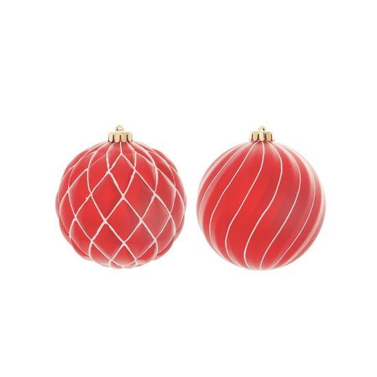 Bola de Natal com Losango e Ondas Vermelho e Branco 13cm (Bolas) - Jogo com 6 Peças