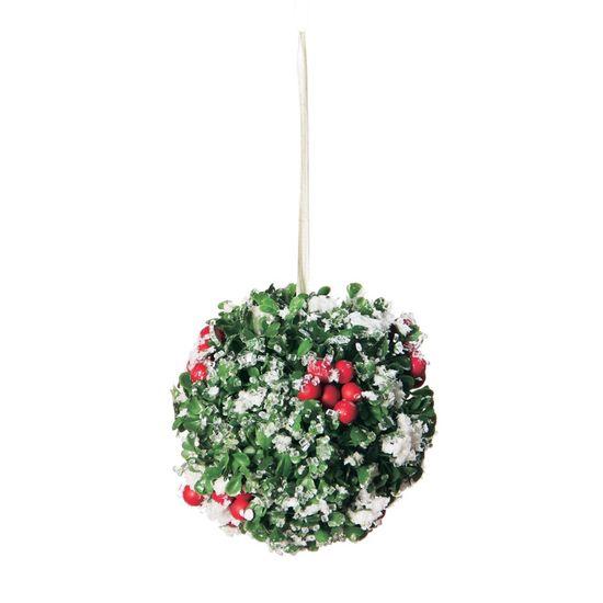 Bola de Natal Cereja com Neve Verde Claro e Vermelho (Topiarias e Mini Árvores) - 1 Unidade