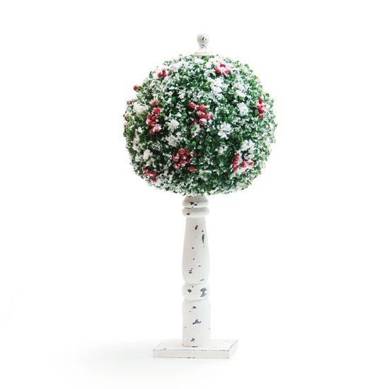 Árvore de Natal Pequena - Topiaria Redonda Vermelho e Branco Tamanho G