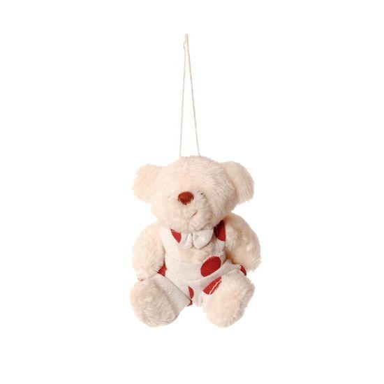 Urso Macacão Poá Branco e Vermelho (Patchwork Vermelho)  - 6 Unidades