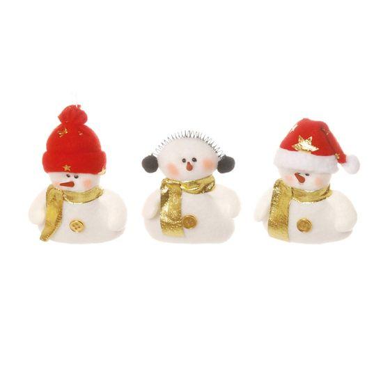 Boneco de Neve com Cachecol para Pendurar Ouro e Branca (Petit)  - 6  Jogos com 3 Peças