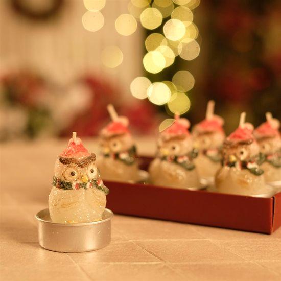 Vela Coruja Vermelho (Velas de Natal)  - 4  Jogos com 6 Peças