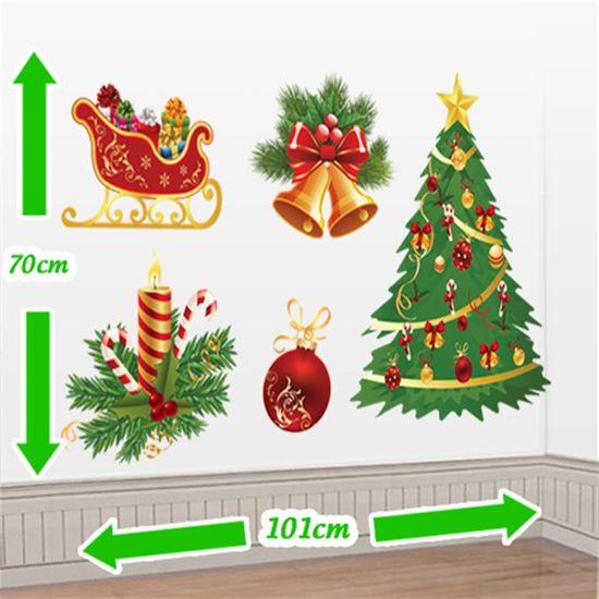 Cenário Adesivo Festa de Natal - Trenó, Vela e Árvore