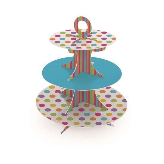 Festa Piratas - Suporte para Doces Cupcakes 3 Andares Colorido 30x35 - 1 Unidade Suporte para Doces Cupcakes 3 Andares Colorido 30x35 - 1 Unidade