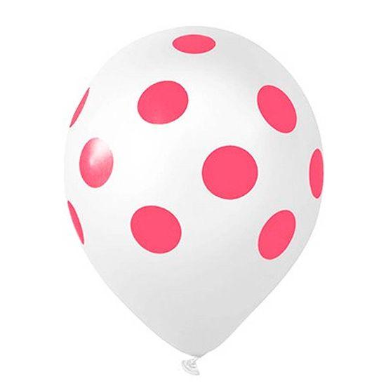 Balão Poá nº 10 Branco com Bolinhas Rosa (27cm) - 25 unidades